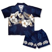hibiscus navy hawaiian boy border cabana set
