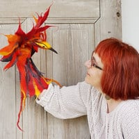 Hand puppet Fiery Phoenix, magical felted bird, children's theater, nursery interactive toy, soft toy, creative play, eco-friendly toy, OOAK