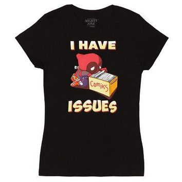 Deadpool I Have Issues Marvel Comics Licensed Women's Junior T-Shirt - Black