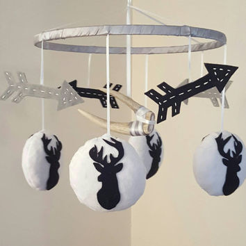 Austin - Deer Baby Mobile - Antler - Arrows - Navy Blue - White - Grey - Hunting - Rustic Country Boy Nursery - Minky - Crib Accessory