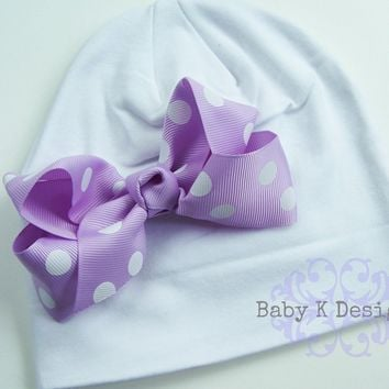 Lavender Bow and White Cotton Knit Beanie/ Newborn Hat  TWO SIZES