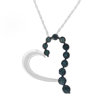 Sterling Silver 0.1ct TDW Treated Blue Rose Cut Diamond Heart Pendant Necklace (Blue,I2-I3)