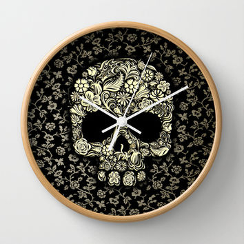 Sugar Skull flower pattern Decorative Circle Wall Clock Watch by Three Second