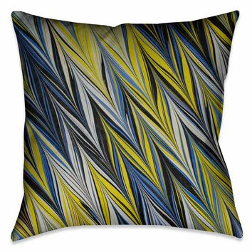 Blue Yellow ZigZag Marble Decorative Pillow