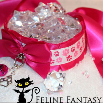 Small Magenta pawprint kittenplay petplay collar with small pink bell and silver paw charm