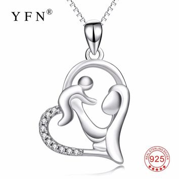 YFN Genuine 925 Sterling Silver Mother Child Necklace Mom Hold Child Pendants Necklaces Jewelry For Women Mother's Day Gifts