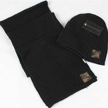 Louis Vuitton Fashion Beanies Knit Winter Hat Cap Scarf Scarves Set Two-Piece
