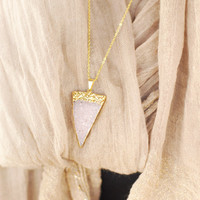 Pink and Gold Dipped Druzy Necklace - gold dipped druzy necklace, pink druzy stone