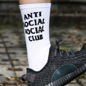 Anti social club Harajuku assc tide brand men and women in black and white wild skateboarding in the tube socks
