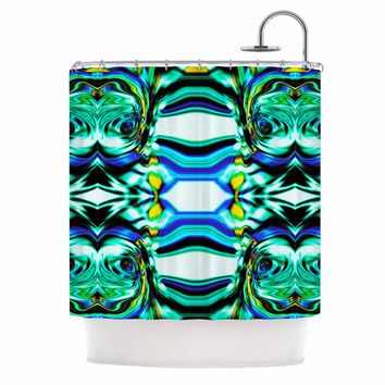 "Dawid Roc ""Inspired By Psychedelic Art 5"" Blue Abstract Shower Curtain"