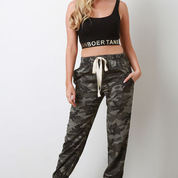 Camouflage High Waisted Drawstring Jogger Pants | UrbanOG