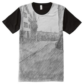 Houses and road All-Over-Print shirt