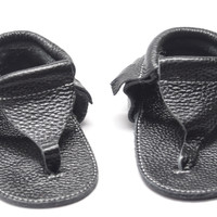 Baby Leather Sandals-Black Flip Flops