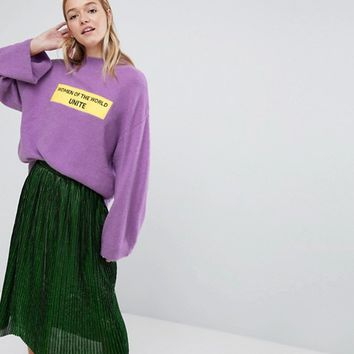 Monki Women Unite Slogan Jumper at asos.com