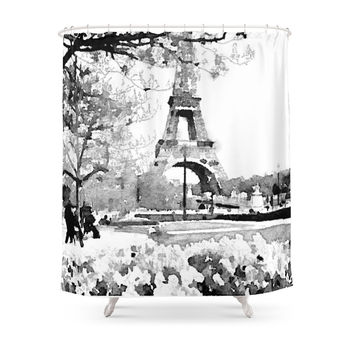 Society6 Black And White Eiffel Tower Watercolor Shower Curtain