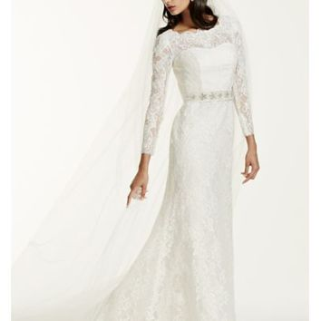 Long Sleeve Wedding Dress with Beaded Lace - Davids Bridal