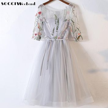 SOCCI Weekend Handmade Embroidered Flowers Cocktail Dress 2017 Tea-Length Half Sleeves A Line vestidos de fiesta cortos elegant