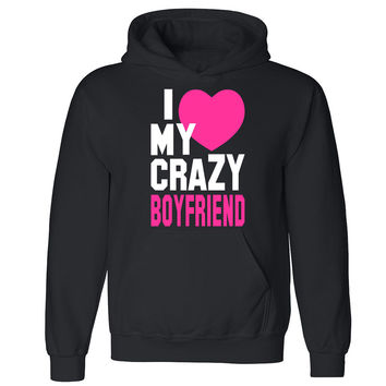 "Zexpa Apparelâ""¢I Heart My Crazy Boyfriend Unisex Hoodie Couple Matching Gift Hooded Sweatshirt"