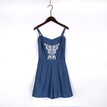 Summer Women's Fashion Embroidery Backless Denim Romper [4918854340]
