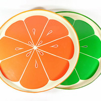 Vintage Orange Slice Tray Lemon Lime Slice Tray Paper Mache Lacquered Decorative Serving Tray 1970s Summer Barbecue Pool Party Beverage Tray