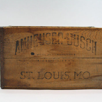 Vintage Wooden Anheuser-Busch Co. 1944 / Antique Beer Crate / Industrial