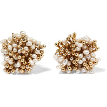 Rosantica - Pioggia gold-tone pearl clip earrings