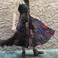 Hippie Patchwork maxi Skirt Dress Festival Boho handmade clothing Elephant paisley bohemian Gypsy Vegan style unique gift for women