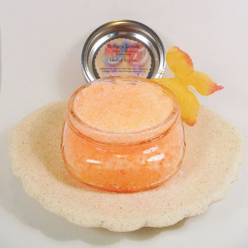 Hand scrub, hand sea salt scrub, satin hand scrub, orange scrub, homemade scrub, natural scrub, bath and body scrub, scrub, gift for her