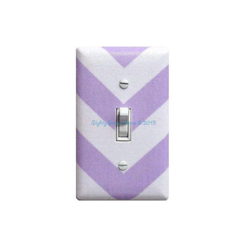 Chevron Light Switch Plate Cover / Lavender Lilac Purple and White / Zig Zags / Lavendar Premier Prints / Slightly Smitten Kitten