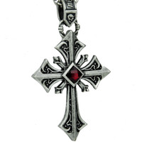 Antique Silver Finish Gothic Cross Necklace with Red Stone