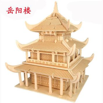 wooden 3D building model toy gift puzzle hand work assemble game woodcraft construction kit Chinese ancient YueYang tower build