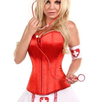 Daisy Lavish 5 PC Pin-Up Nurse Corset Costume