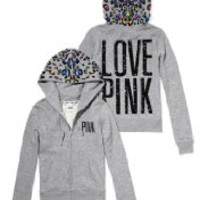 Victoria's Secret PINK NFL Collection New York JETS Faux-Fur Lined Bling Zip Hoodie, Limited-Edition - X-Small