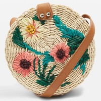 Britney Floral Straw Cross Body Bag - Bags & Accessories