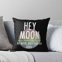 'Hey Moon' Throw Pillow by ryatthedisco
