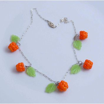 Berries, Sterling Silver Glass Leaves and Cloudberries Necklace