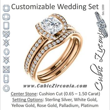 CZ Wedding Set, featuring The Victoria engagement ring (Customizable Bezel-set Cushion Cut Semi-Halo Design with Prong Accents)