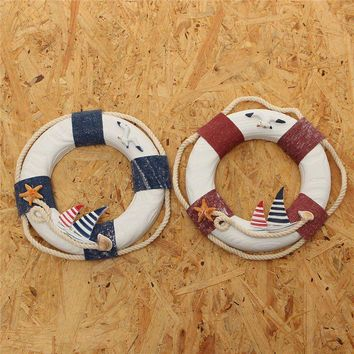 Fashionable Nautical Mediterranean Family Adorment Life Buoy Crafts Room Decor Life Ring Nautical Home Wall Hanging Decoration