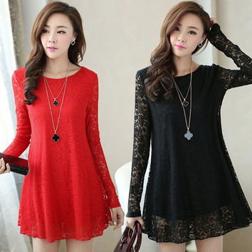 Women Lace Casual Long Sleeve dress  F_F