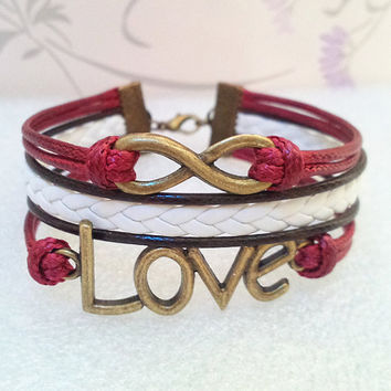 Retro Love Bracelet,Infinity Bracelet.Claret Wax Cords and Brown with White braid bracelet.