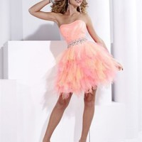 Ball Gown Mini Length Strapless Dress With Sequins Belt Pink 1350