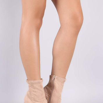 Bamboo Suede Chunky Clear Heeled Ankle Boots