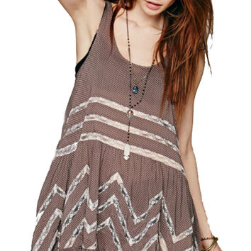 Gypsy Fashion Hippie Style Dress Chiffon Ladies Blue Short Sundress