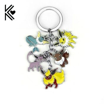 Pocket Monster Vaporeon Eevee Flareon Espeon Jolteon 5 IN 1 Unisex Keyring Keychain Pendant Fan Gift CollectableKawaii Pokemon go  AT_89_9