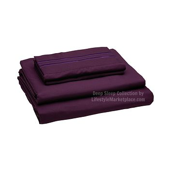 Twin XL / Dorm / Hospital Bed Sheets - Plum - Deep Sleep 1800 Thread Count Sheet Set - Breathable, Moisture Wicking, Ultra Soft, Wrinkle Free