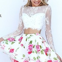 Lace Long Sleeve Short Print Sherri Hill Dress