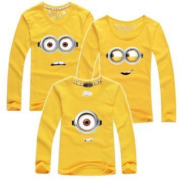 2018 autumn children t shirts minions clothes family clothing matching mother daughter father son clothes family look 7 color