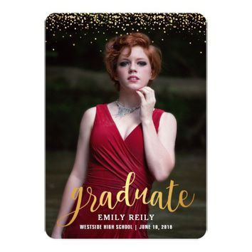 Faux Glitter Graduation Party Invitation