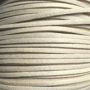 Beige Faux Suede Cord - 3mm flat - 3, 5, 10 yards/meters - microfiber leather bracelet necklace jewelry making supply khaki tan Light