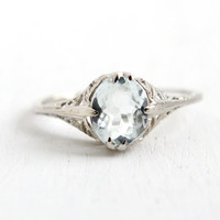 Antique 10k White Gold Art Deco 1 Carat Aquamarine Ring - Size 6 3/4 Vintage Filigree 1920s 1930s Solitaire Blue Gemstone Fine Jewelry